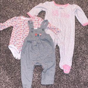 Baby Girls 9 Months Bundle PJ/Overalls